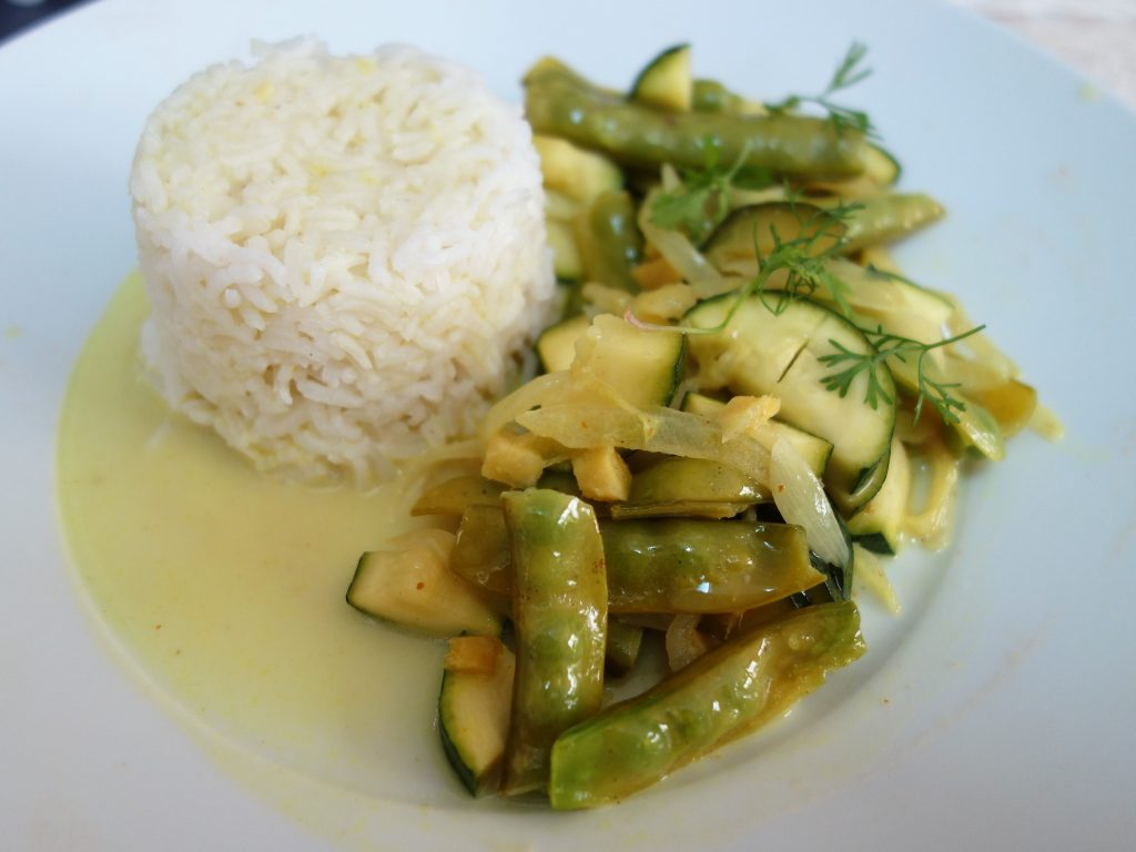 curry courgette pois gourmands