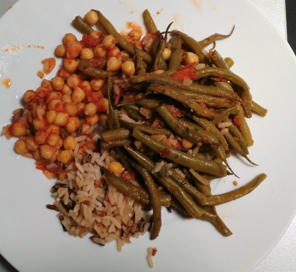 haricots verts et pois-chiches